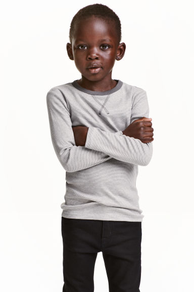 Long-sleeved T-shirt - Grey/Fine stripe - Kids | H&M CN 1