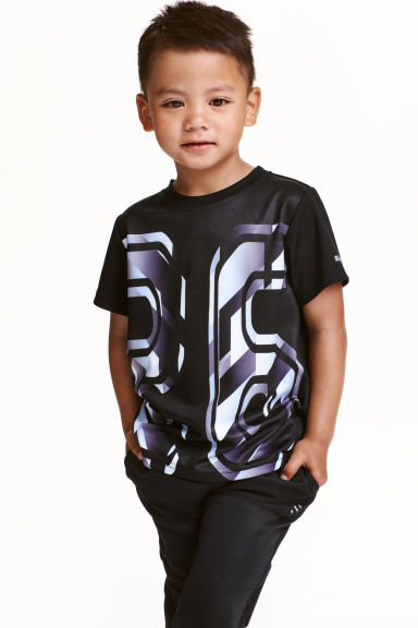Short-sleeved sports top - Black - Kids | H&M CN 1