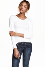Long-sleeved jersey top - White - Ladies | H&M 2