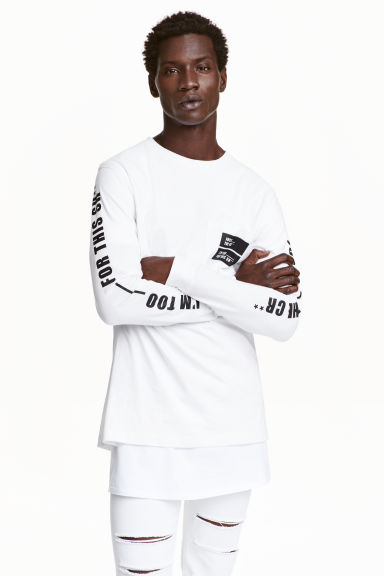 Long-sleeved T-shirt - White - Men | H&M CN