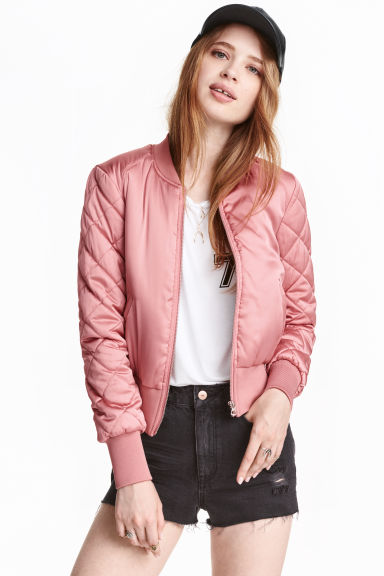 Short satin bomber jacket - Pink - Ladies | H&M 1