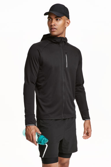 Hooded running jacket - Black - Men | H&M 1