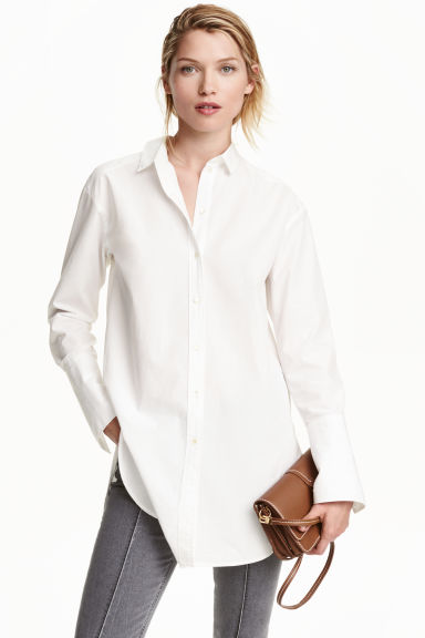Long cotton shirt - White - Ladies | H&M CN 1