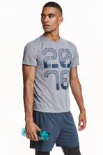Short-sleeved sports T-shirt - Grey marl - Men | H&M CN 1