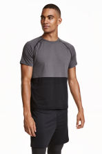 Short-sleeved sports top - Dark grey/Black - Men | H&M CN 1