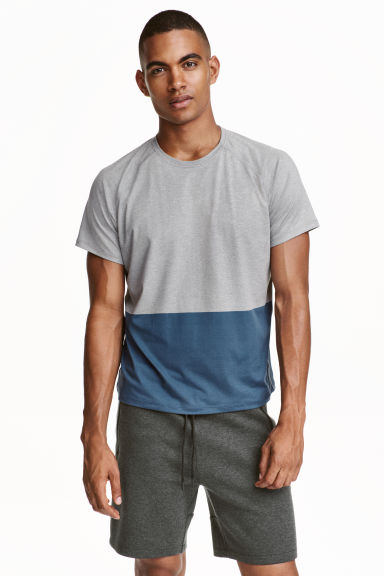 Short-sleeved sports top - Grey/Blue - Men | H&M CN 1