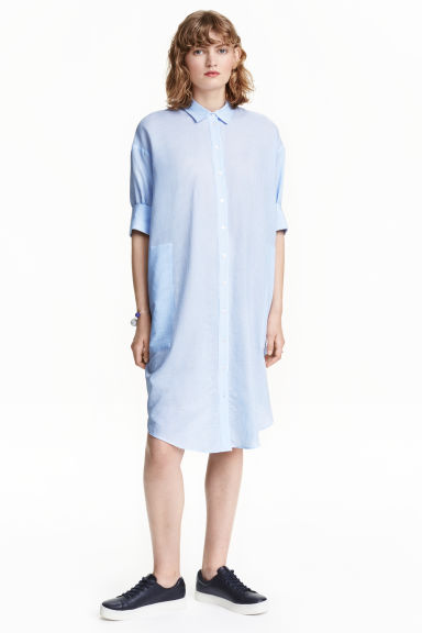 Cotton shirt dress - Light blue/Stripe - Ladies | H&M CN 1