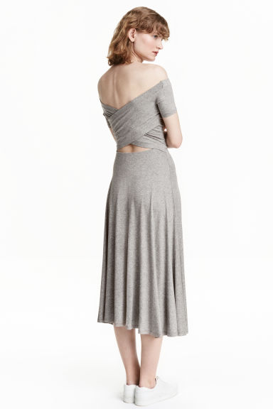 Off-the-shoulder dress - Grey marl - Ladies | H&M CN 1