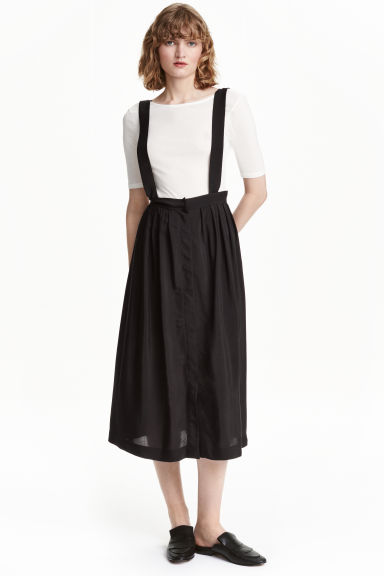 Skirt with braces - Black - Ladies | H&M CN 1