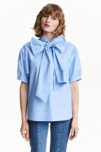 Pussy bow blouse - Light blue - Ladies | H&M CN 1