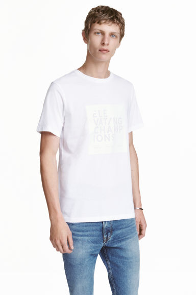 T-shirt with a motif - White/Text - Men | H&M CN 1