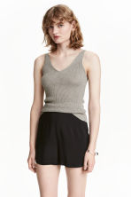 V-neck top - Grey marl - Ladies | H&M CN 1
