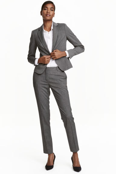 Suit trousers - Dark grey/Patterned - Ladies | H&M CN 1