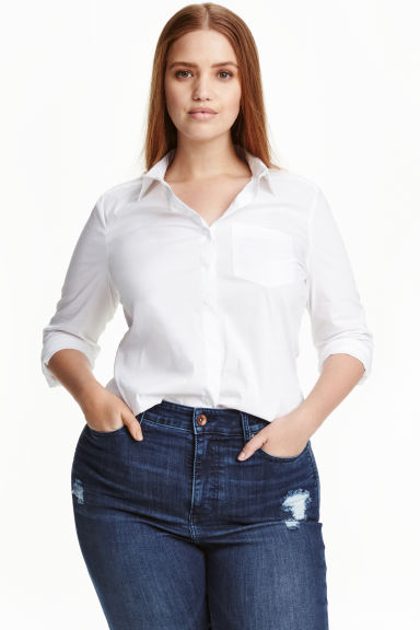 H&M+ Fitted shirt - White - Ladies | H&M CN 1