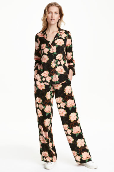 Wide satin trousers - Black/Floral - Ladies | H&M CN