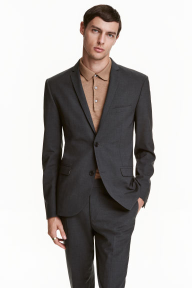 Wool jacket Slim fit - Dark grey - Men | H&M CA 1