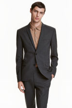 Blazer in lana Slim fit - Grigio scuro - UOMO | H&M IT 1