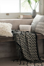 Jacquard-weave blanket - Anthracite grey/Natural white - Home All | H&M GB 1