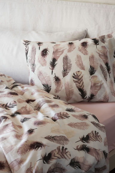 Patterned duvet cover set - White/Feathers - Home All | H&M CN