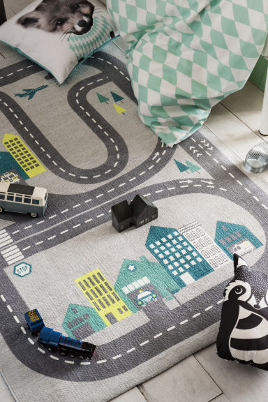 Tapis en coton avec motif - Gris clair/circuit automobile - Home All | H&M FR 1