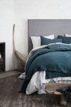 Washed linen duvet cover set - Dark petrol - Home All | H&M CN 1
