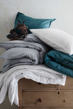 Washed cotton duvet cover set - Light grey - Home All | H&M GB 5
