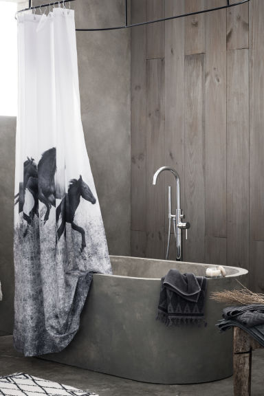 Photo print shower curtain - Grey/Horses - Home All | H&M CN 1
