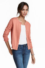 Fine-knit cotton cardigan - Dark powder pink - Ladies | H&M CA 1