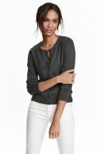 Fine-knit cotton cardigan - Dark grey marl - Ladies | H&M CN 1