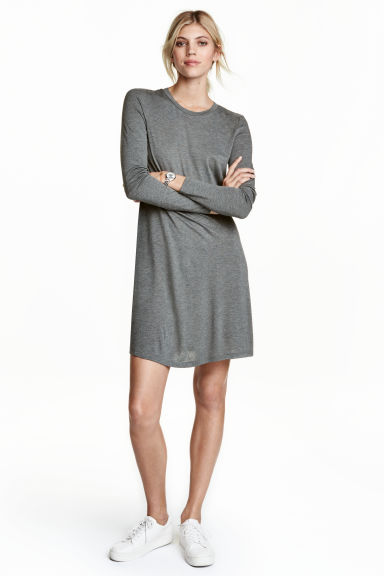 Long-sleeved jersey dress - Dark grey marl - Ladies | H&M CN 1