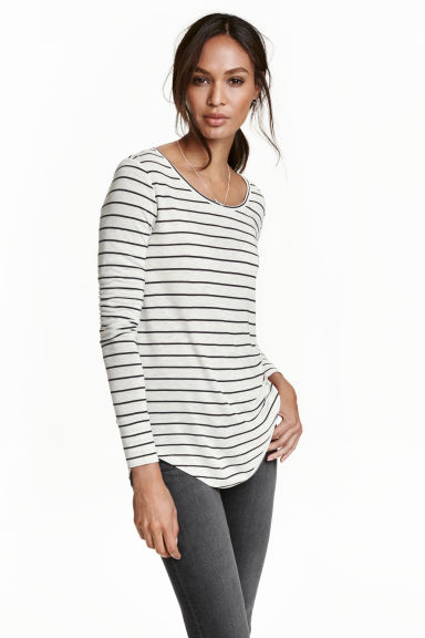 Jersey top - Light grey/Striped - Ladies | H&M CN