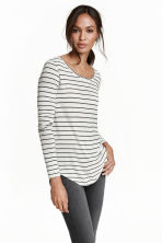 Jersey top - Light grey/Striped - Ladies | H&M CN 1