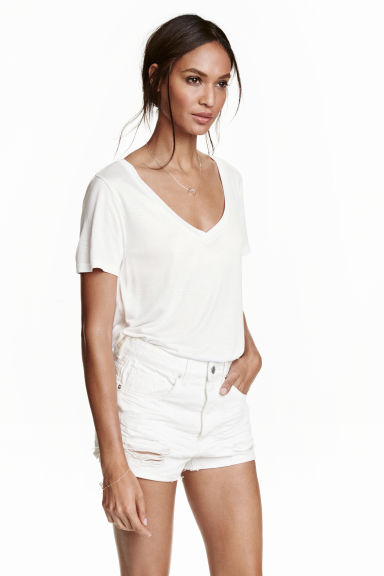 V-neck top - White - Ladies | H&M GB 1