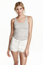 Jersey vest top - Light grey marl - Ladies | H&M CN 1