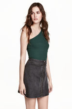 One-shoulder top - Dark green - Ladies | H&M GB 1