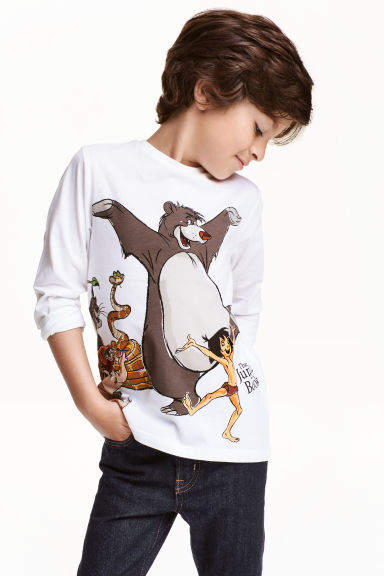 Long-sleeved T-shirt - White/The Jungle Book - Kids | H&M CN 1