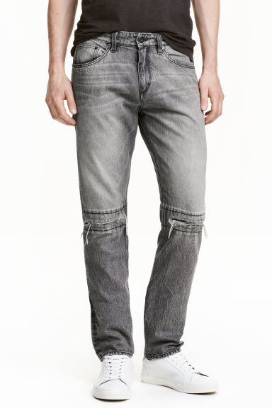 Straight Regular Ripped Jeans - Gris foncé washed out - HOMME | H&M CH 1