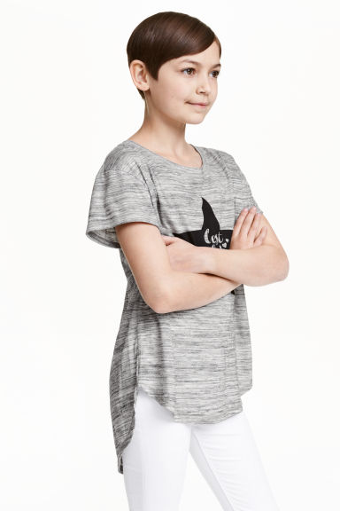 Printed jersey top - Grey marl/Star - Kids | H&M CN 1