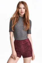 Imitation suede shorts - Burgundy - Ladies | H&M CN 1