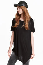 Asymmetric T-shirt - Black - Ladies | H&M CN 1