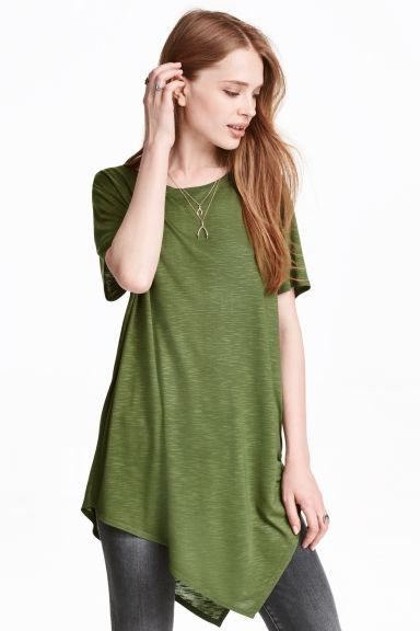 Asymmetric T-shirt - Khaki green - Ladies | H&M CN 1