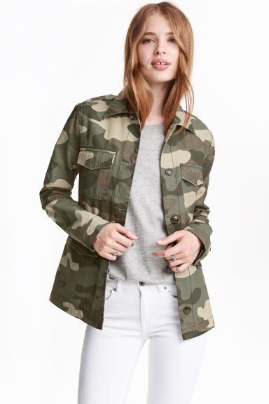 Short cotton parka - Khaki green/Patterned -  | H&M CN 1