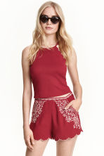 Embroidered shorts - Dark red - Ladies | H&M CN 1