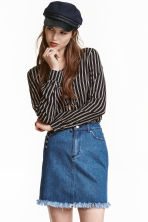 Worn denim skirt - Denim blue - Ladies | H&M CN 1