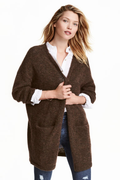 Cardigan in misto mohair - Marrone scuro mélange -  | H&M IT 1