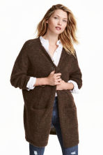 Mohair-blend cardigan - Dark brown marl -  | H&M CN 1