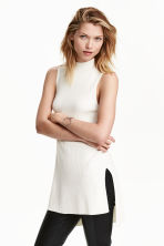Ribbed tunic - White - Ladies | H&M CN 1