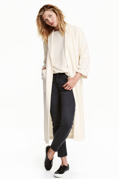 Crêped coat - Natural white - Ladies | H&M CN 1