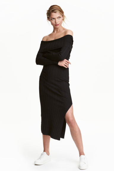 Off-the-shoulder dress - Black -  | H&M CN