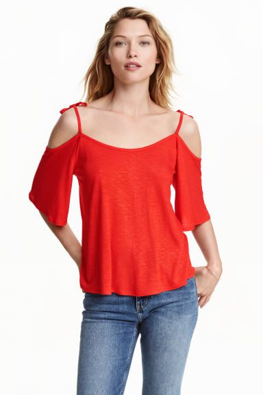 Cold shoulder top - Red - Ladies | H&M CN 1
